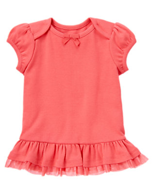 Coral Pink Tulle Ruffle Hem Tee by Gymboree