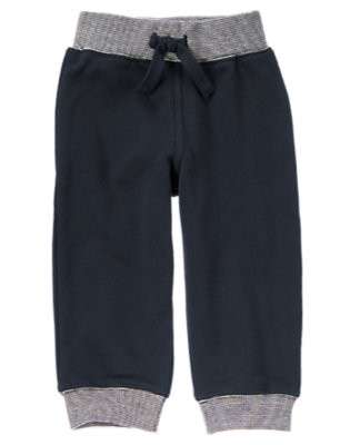 Gym Navy Cuffed Fleece Active Pant by Gymboree