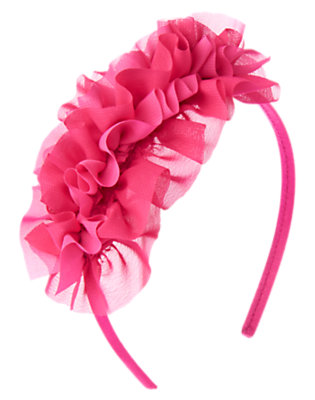 Girls Plume Pink Chiffon Ruffle Headband by Gymboree