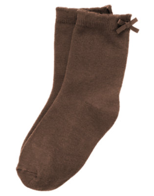 Girls Brown Bow Sock by Gymboree