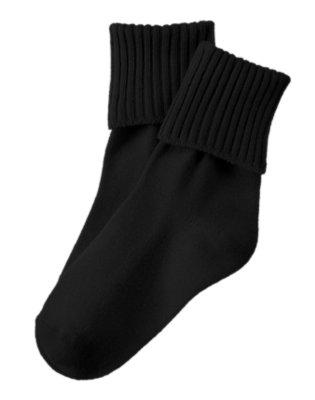 Boys Black Foldover Socks by Gymboree