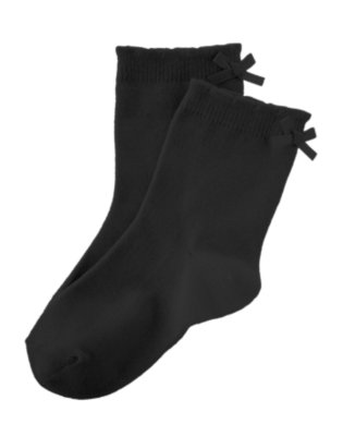 Toddler Girls Black Bow Sock by Gymboree