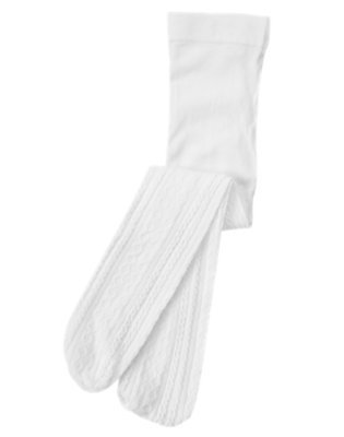 Toddler Girls White Cable Tight by Gymboree