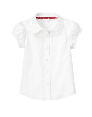 Girls White Uniform Short Sleeve Shirt by Gymboree