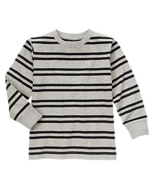 Boys Heathered Grey Stripe Stripe Tee by Gymboree