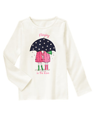 Girls White Playing In The Rain Glitter Tee by Gymboree