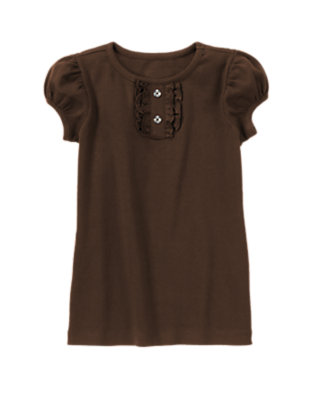 Brown Gem Button Short Sleeve Tee by Gymboree