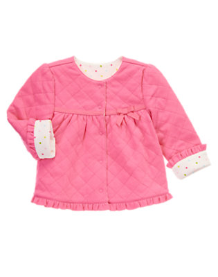 Baby Pink Quilted Reversible Cardigan by Gymboree