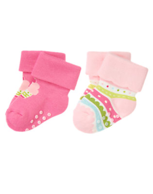 Baby Pink Cupcake Stripe Sock Two-Pack by Gymboree