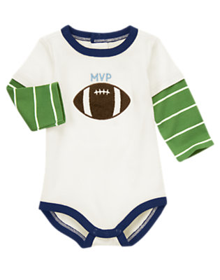 Baby Ivory Football Double Sleeve Bodysuit by Gymboree