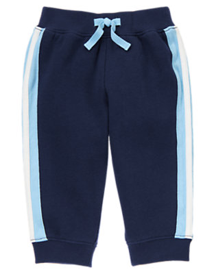 Baby Navy Football Fleece Pant by Gymboree