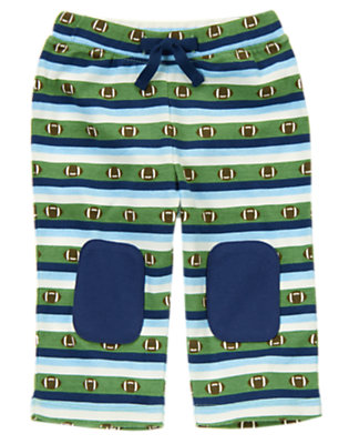 Baby Blue Stripe Stripe Football Pant by Gymboree