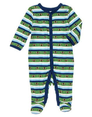 Baby Blue Stripe Football Footed One-Piece by Gymboree