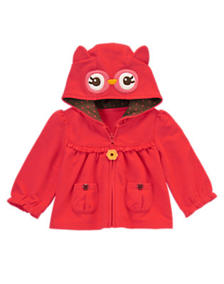 Baby Coral Blossom Owl Hooded Cardigan by Gymboree