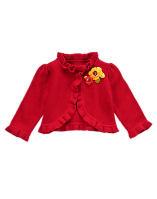 Baby Dark Red Crochet Flower Cardigan by Gymboree