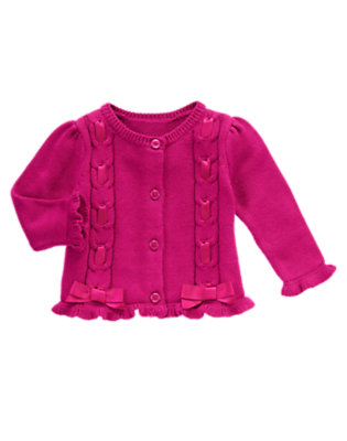 Baby Holiday Berry Ribbon Cable Sweater Cardigan by Gymboree