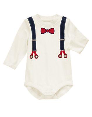 Baby White Suspender Bodysuit by Gymboree