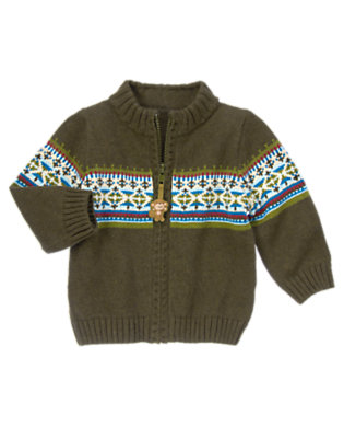 Heather Green Stripes Fair Isle Zip-Up Cardigan by Gymboree
