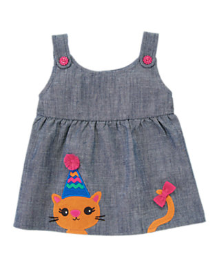 Toddler Girls Chambray Bow Kitty Chambray Top by Gymboree
