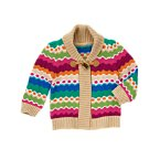 Wavy Stripe Toggle Sweater Cardigan