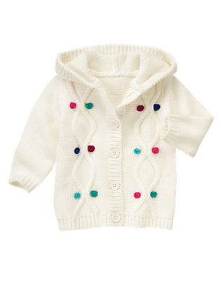 Toddler Girls Ivory Bobble Hooded Sweater Cardigan by Gymboree