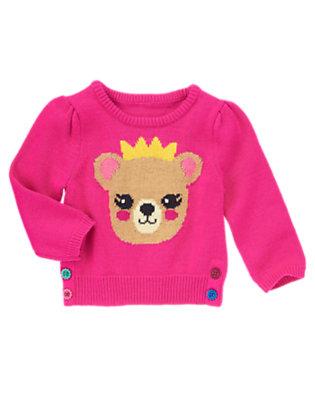Fuchsia Pink Bear Flower Button Sweater by Gymboree