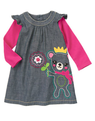 Toddler Girls Chambray Bear Chambray Double Sleeve Dress by Gymboree