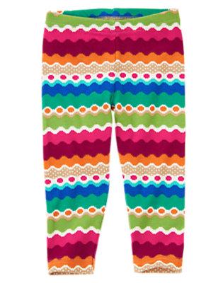 Toddler Girls Emerald Green Stripe Wavy Stripe Dot Legging by Gymboree