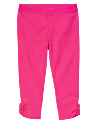 Toddler Girls Fuchsia Pink Flower Button Tab Legging by Gymboree
