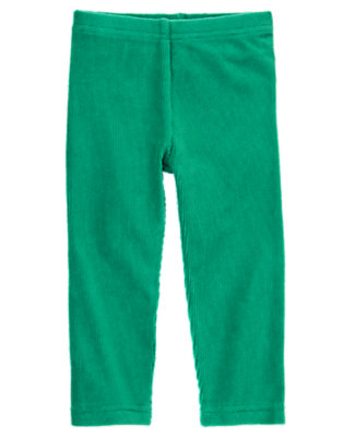 Toddler Girls Emerald Green Velour Legging by Gymboree
