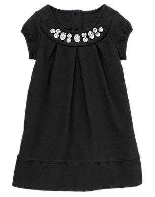 Toddler Girls Black Gem Ponte Dress by Gymboree