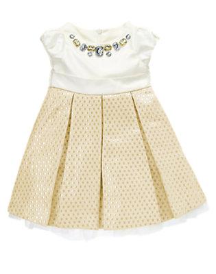 Winter Ivory/Gold Gem Brocade Dress by Gymboree