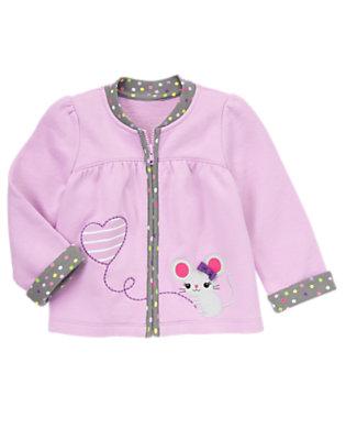 Toddler Girls Sweet Lavender Mouse Heart Fleece Cardigan by Gymboree