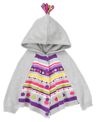 Toddler Girls Bright Purple Fair Isle Hooded Fair Isle Sweater Cape by Gymboree