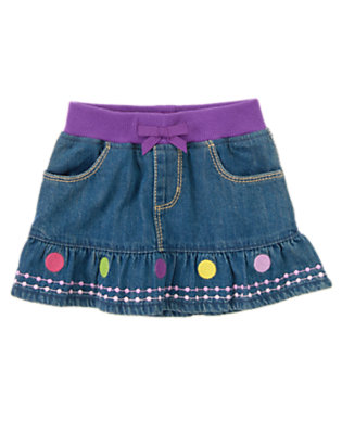 Toddler Girls Denim Dot Hem Jean Skirt by Gymboree