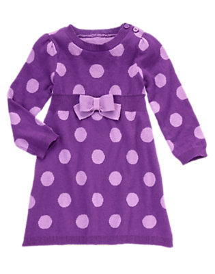 Toddler Girls Playful Purple Dot Bow Dot Sweater Dress by Gymboree