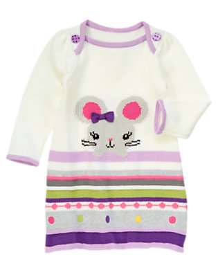 Toddler Girls Ivory Fair Isle Mouse Fair Isle Sweater Dress by Gymboree
