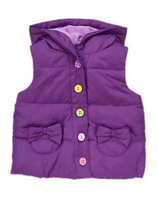 Playful Purple Bow Hooded Puffer Vest by Gymboree