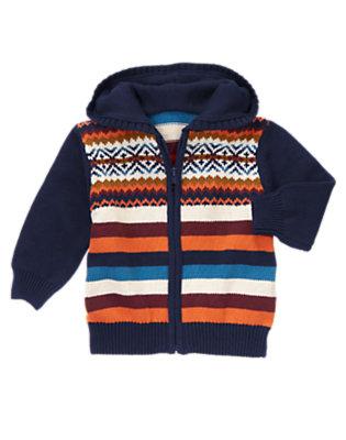 Midnight Blue Fair Isle Stripe Sweater Hoodie by Gymboree