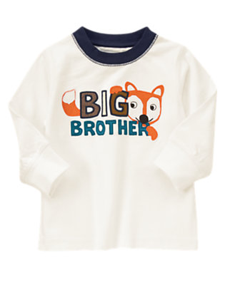 Toddler Boys Ivory Big Brother Fox Tee by Gymboree