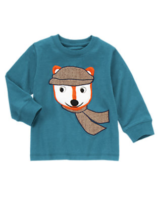 River Blue Fox In Cap Tee by Gymboree