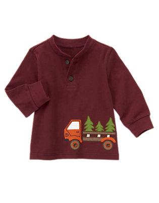 Toddler Boys Burgundy Truck Henley Tee by Gymboree