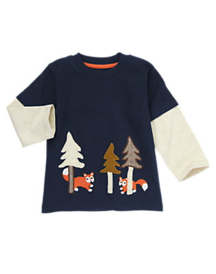 Midnight Blue Forest Foxes Double Sleeve Tee by Gymboree