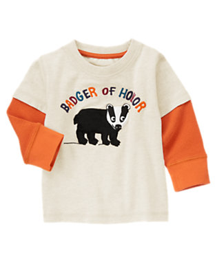 Heathered Almond Badger Double Sleeve Tee by Gymboree