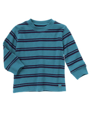 Toddler Boys River Blue Stripe Stripe Thermal Tee by Gymboree
