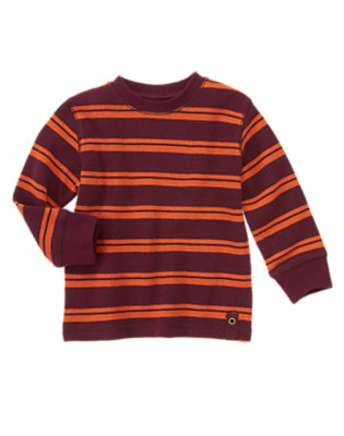 Toddler Boys Burgundy Stripe Stripe Thermal Tee by Gymboree