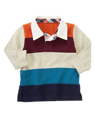 Oatmeal Heather Pieced Stripe Rugby Shirt by Gymboree