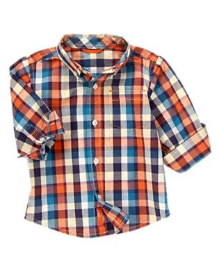 Fox Orange Plaid Plaid Shirt by Gymboree