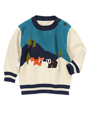 Heathered Almond Fox & Badger Sweater by Gymboree