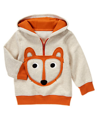 Heathered Almond Fox Fleece Hoodie by Gymboree
